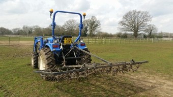 8ft folding frame mounted chain harrow.