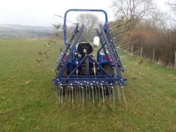 12ft folding spring tine / weed tine harrow with seeder.