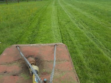Topping horse paddocks with the 45hp Compact Tractor and 6ft 6in Grass topper.
