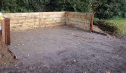 2.4m x 4.8m timber muck clamp installed for a private stable yard owner in Thatcham.