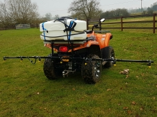 Spraying equine paddocks with the quad-mounted 3m herbicide boom sprayer.